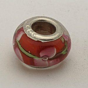 Jewelry - Murano Glass Cherry Blossom Charm Red Fits Pandora
